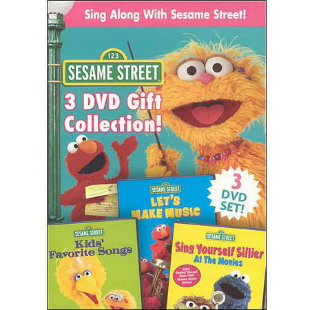 Sesame Street: Sing Along With Sesame Street 3 DVD Gift Collection Disc 1:  Kids' Favorite Songs : Elmo's getting ready for his Top Ten Countdown on the radio, and everyone on Sesame Street wants him to play their favorite songs! But with so many great songs to choose from, how will Elmo pick which ones to play? Maybe you can help him decide. Which of these favorites is your favorite song? Disc 2:  Let's Make Music : Explore the world of music and rhythm with your favorite Sesame Street characters featuring the cast of Stomp, the international percussion sensation. Learn about rhythm and add a little music to your life with the whole Sesame Street gang! Disc 3:  Sing Yourself Sillier At The Movies : It's time for a special edition of Sneak Peek Preview! Hosts Telly and Oscar are reviewing the silliest movies you've ever seen, featuring the silliest songs you've ever heard. Will these daffy ditties rate a  wow  or a  phooey?  Telly and Oscar just can't agree. But one thing's for sure - with songs this silly, you'll have no choice but to sing yourself SILLIER.