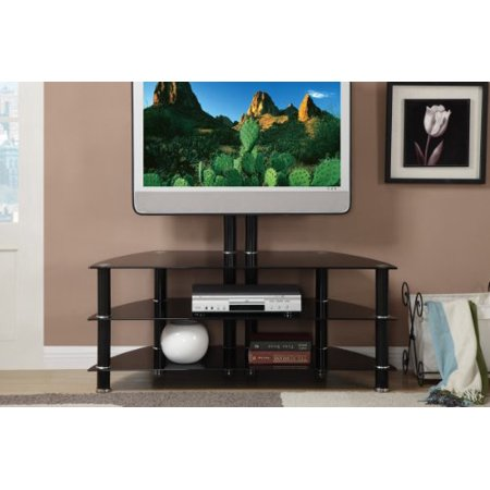 3 shelves Black Metal Shiny Glass TV Media Console Stand with Bracket ()
