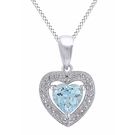 Heart Shaped Simulated Blue Topaz and Diamond Pendant Necklace Necklace in 14k White Gold Over Sterling Silver (0.1