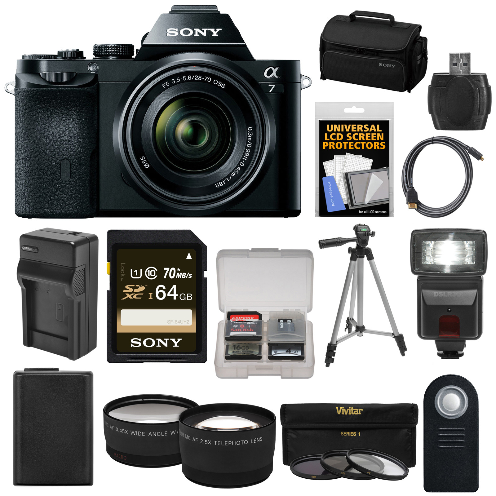 Sony Alpha A7 Digital Camera & 28-70mm FE OSS Lens with 64GB Card + Battery & Charger + Case + Tripod + Flash... by Sony