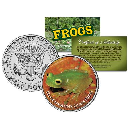 FLEISCHMANN'S GLASS FROG * Collectible Frogs * JFK Kennedy Half Dollar US Coin (Glass Coin Dot)