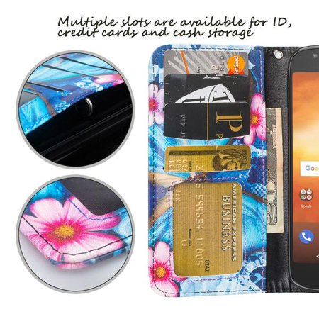 Moto G6 Play Case, Moto G6 Forge Case,Moto E5 case, Cute Girls Women Pu Leather Wallet Case with ID Slot & Kickstand Phone Case for Motorola Moto G6 Play - (Blue Butterfly) - image 4 of 6