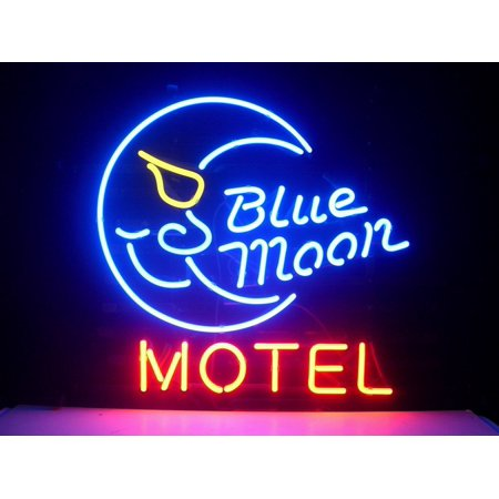 "Desung Brand New Blue Moon Motel Neon Sign Handcrafted Real Glass Beer Bar Pub Man Cave Sports Neon Light 20""x 16"" WM23"