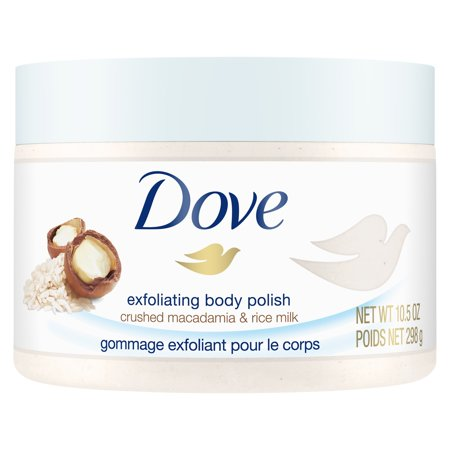 Dove Macadamia & Rice Milk Exfoliating Body Scrub, 10.5 (Protein Exfoliating Body Polish)