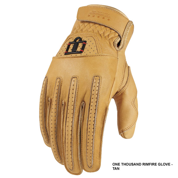 Icon 1000 Rimfire Leather Street Gloves Tan MD