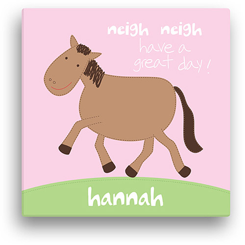 "Sandra Magsamen Personalized Horse Canvas Wall Art, 12"" x 12"", Pink"