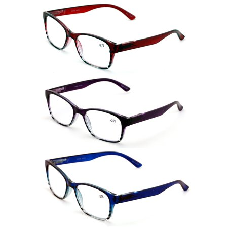 Royal Readers (3 Pairs Classic Readers With Spring Hinge - Reading Glasses RX Magnification Maroon Purple Blue Men Or Women )