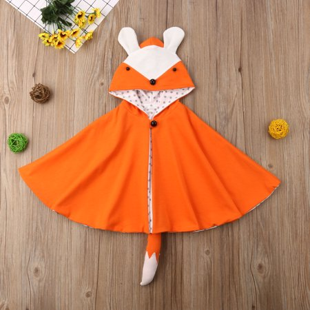 Baby Girl Cotton Hoodie Toddler Fox Ear Cape Infant Fox Tail Coat Cloak Wraps (Anime Girl With Fox Ears And Tail)