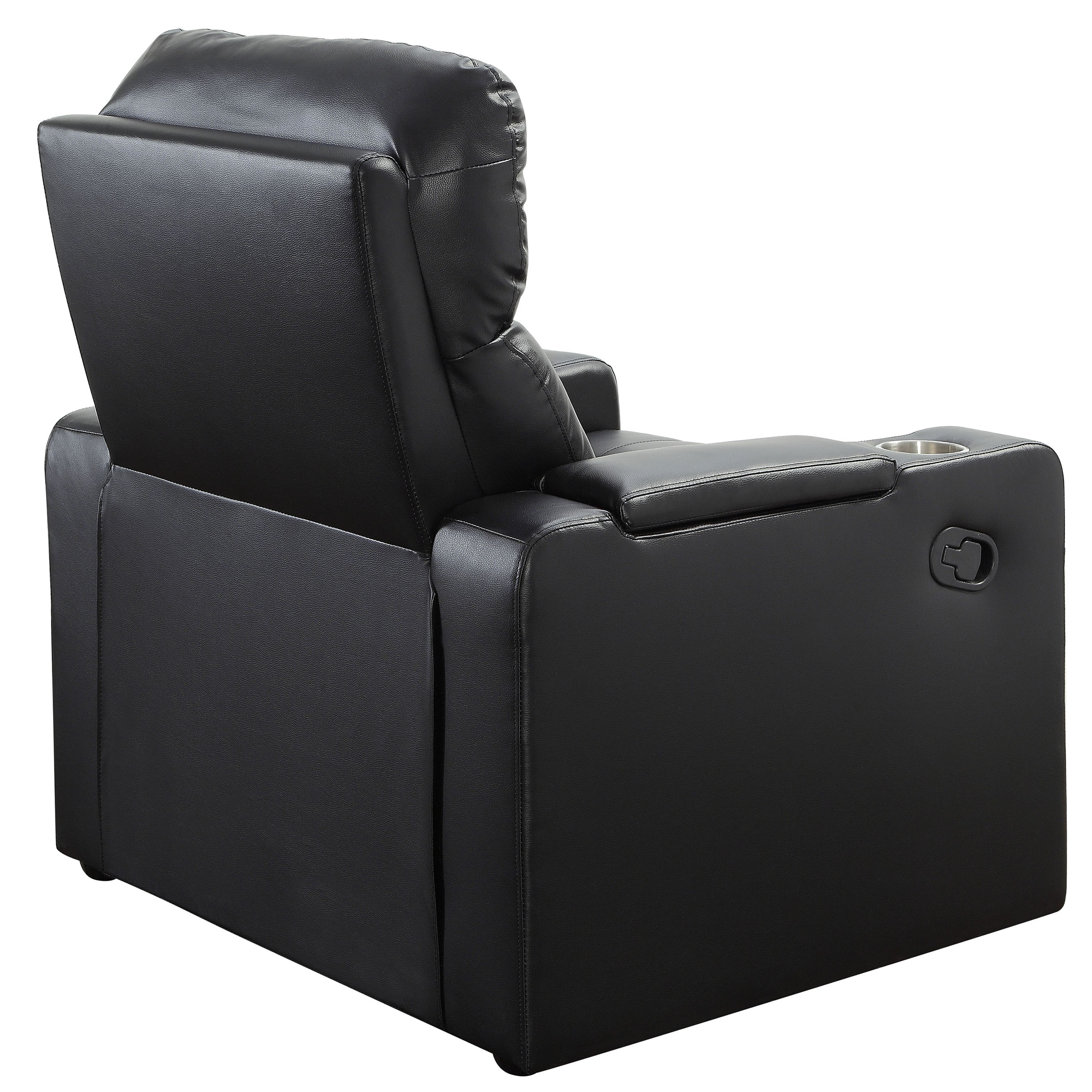 Home Theater Recliner W/ In Arm Storage Reclining Chair W/ PU Leather Black