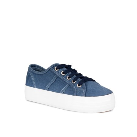 Nature Breeze Lace up Canvas Sneakers in Blue Canvas Lace Sneakers
