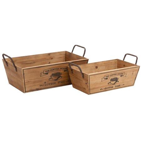 Wooden Metal Handle Set Of 2 Wine Tray ()