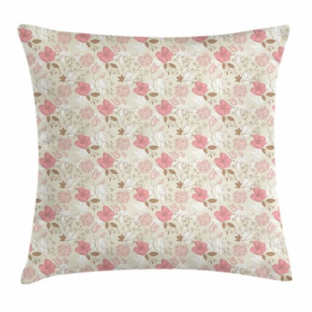 Vintage Throw Pillow Cushion Cover, Artistic Floral Doodle Flourish Spring Garden Growth Feminine Pattern, Decorative Square Accent Pillow Case, 18 X 18 Inches, Pale Green Coral Cocoa, by Ambesonne