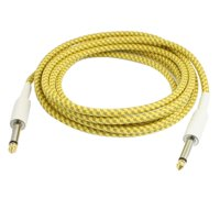 """Unique Bargains 6.3mm 1/4"""" Jack Yellow Khaki Woven Tweed Guitar Cable Patch Cord 3 Meters"""