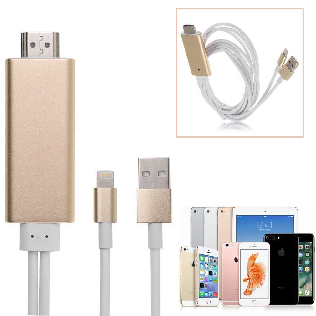 Lightning to HDMI HDTV AV Cable Adapter for iPhone 7plus iPhone 6S Plus 6 8 Pin Lightning GOLD