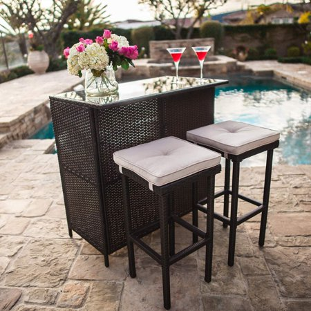 SUNCROWN Outdoor Bar Set 3-Piece Brown Wicker Patio Furniture: Glass Bar and Two Stools with Cushions - Perfect for Patios, Backyards, Porches, Gardens or - Patio Furniture Scroll Bar