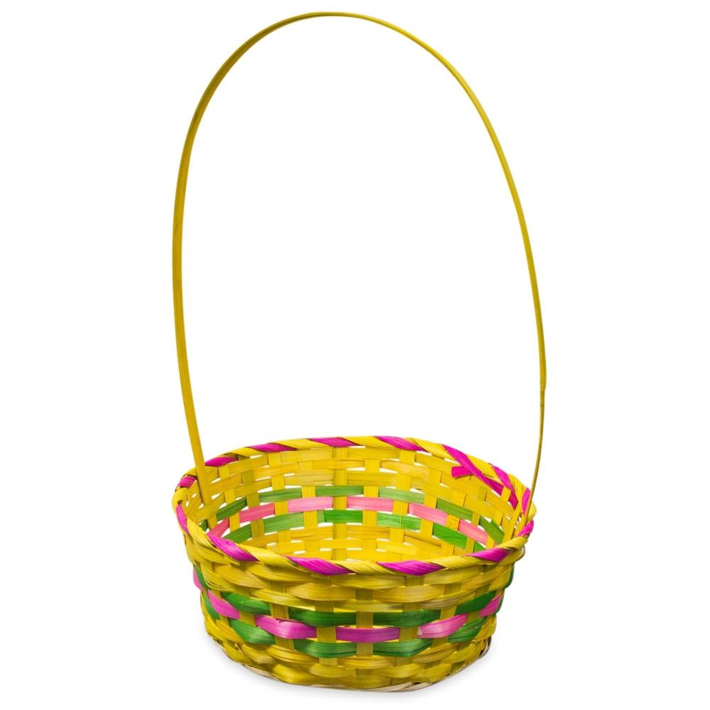 "17"" Woven Colorful Round Yellow Easter Basket"