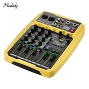 Muslady B4-MX Portable 4-Channel Sound Card Mixing Console Audio Mixer Built-in 16 DSP 48V Phantom power Supports BT Connection MP3 Player Recording Function 5V power Supply for DJ Network Live Broadc