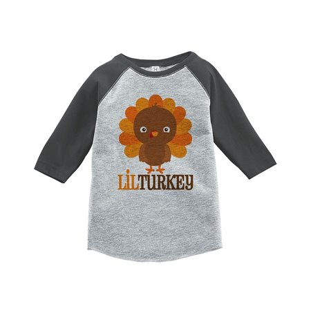 Custom Party Shop Baby Boy's Little Turkey Thanksgiving Grey Raglan - Large (14-16) T-shirt - Buy Custom