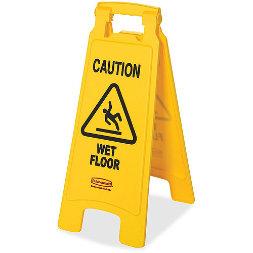 Rubbermaid Caution Wet Floor Sign, 11 x 1-1/2 x 26, Bright Yellow