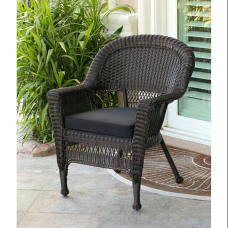 36 Espresso Brown Resin Wicker Outdoor Patio Garden Chair Black Cushi