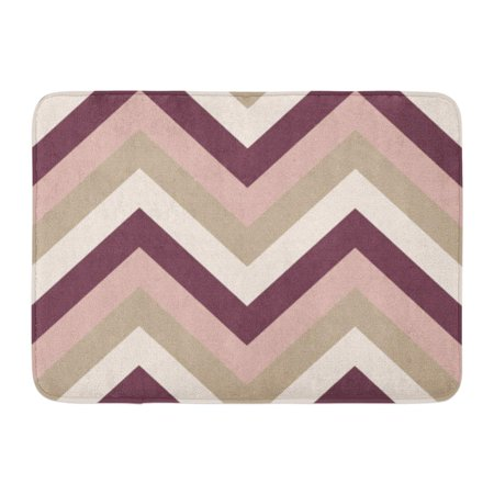 KDAGR Gray Pattern Striped Zigzagging Zigzag Line Stripy Geometric Brown Maroon Beige Olive Colored Tan Hipster Doormat Floor Rug Bath Mat 23.6x15.7 inch