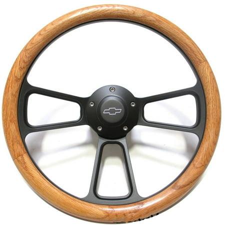 1967 -1969 Chevy Corvair Oak & Billet Steering Wheel, Adapter, Chevy Horn