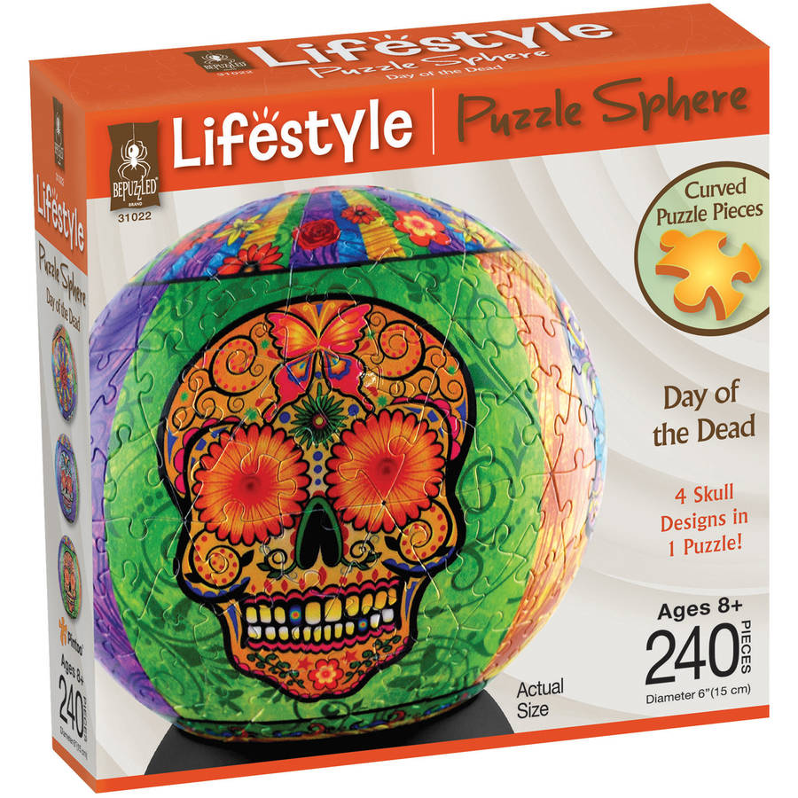 Lifestyle 3D Puzzle Sphere, Day of the Dead, 240 Pieces by BePuzzled