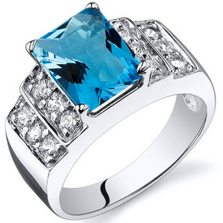 Radiant Cut 2.50 carats Swiss Blue Topaz Cubic Zirconia Sterling Silver Ring in Sizes 5 to 9 Style SR10304