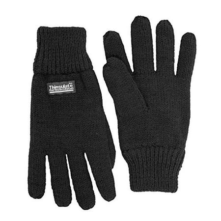 SANREMO Unisex Kids Knitted Fleece Lined Warm Winter Gloves (7-14 Years, Black)