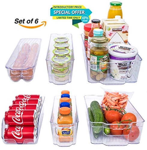 Adorn Home 6 Piece Refrigerator/Freezer Organizer Bins with Handles | Stackable Storage Containers |  sc 1 st  Walmart & Adorn Home 6 Piece Refrigerator/Freezer Organizer Bins with Handles ...
