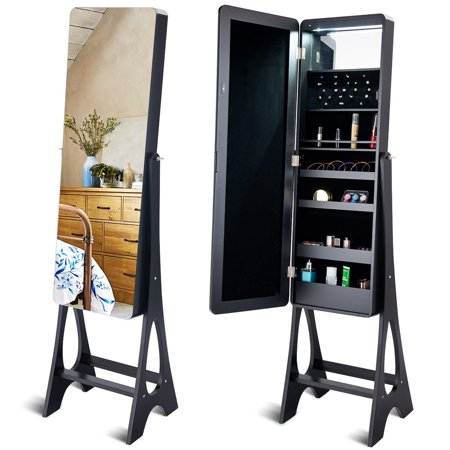 Costway LED Jewelry Cabinet Standing Armoire Organizer w/ Bevel Edge Full Size Mirror (White Mirrored Jewelry Armoire)