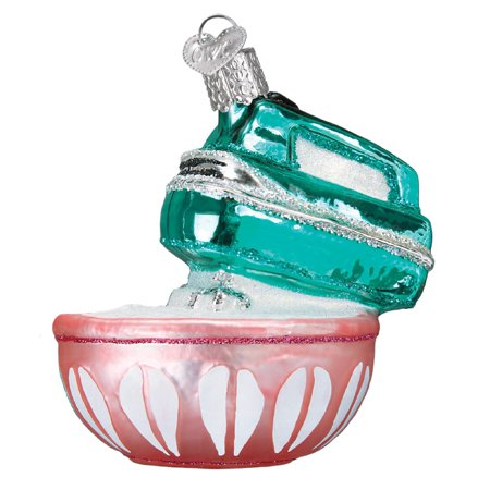 Old World Christmas Teal Blue Hand Mixer and Bowl Holiday Ornament Blown - Hand Blown Glass Halloween Ornaments