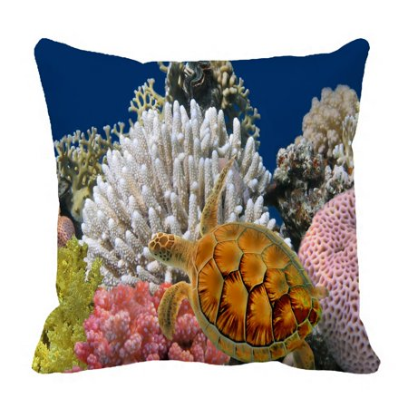 PHFZK Underwater World Pillow Case, Sea Turtle and Coral Reef Pillowcase Throw Pillow Cushion Cover Two Sides Size 18x18 inches