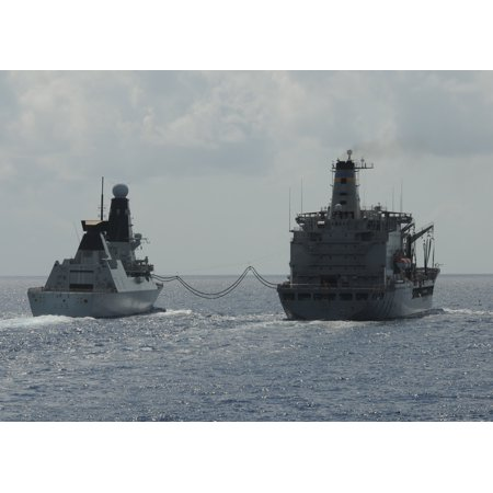 - LAMINATED POSTER Royal Navy destroyer HMS Dauntless (D33), left, receives fuel from the Military Sealift Command flee Poster Print 24 x 36