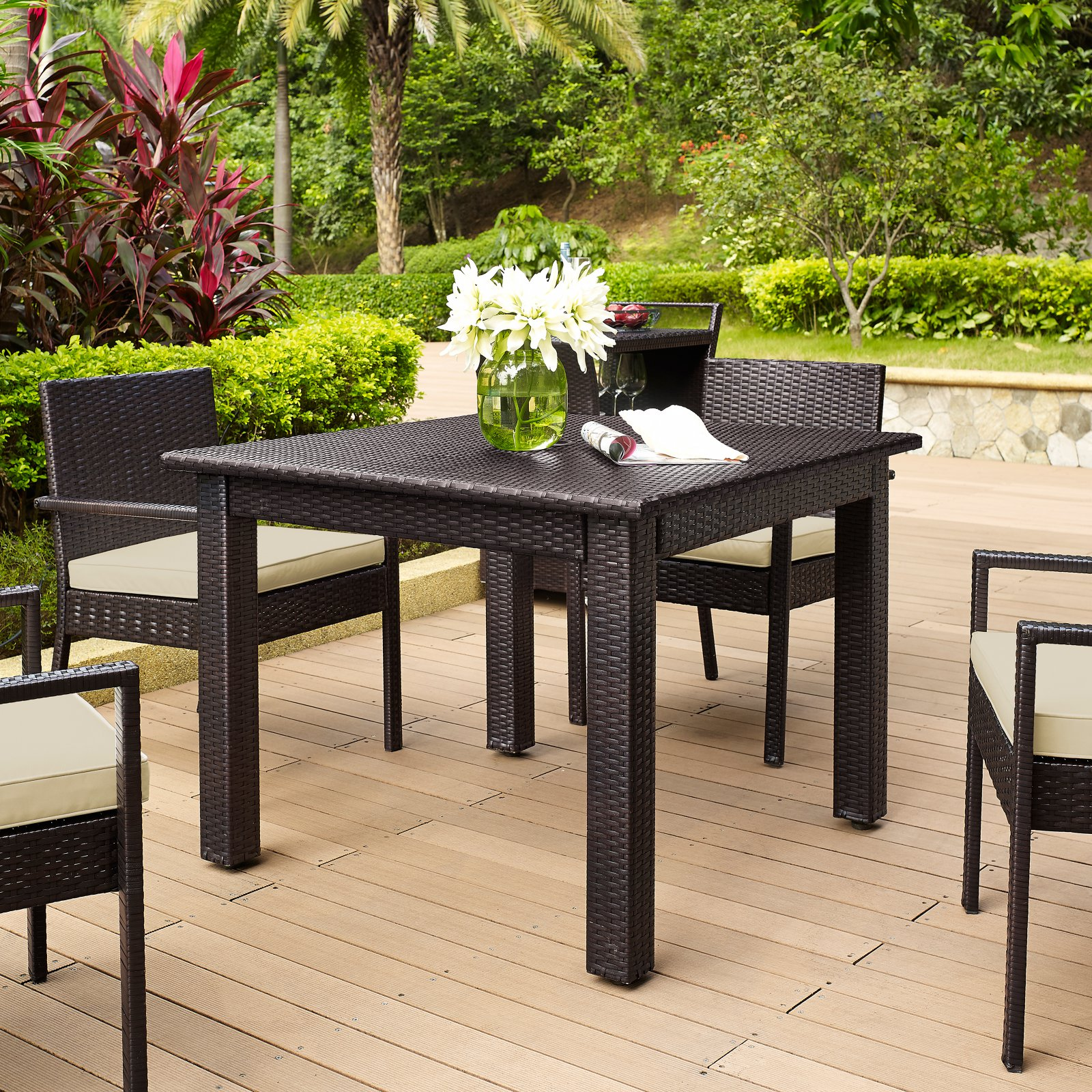 Crosley Palm Harbor Outdoor Wicker Square Dining Table