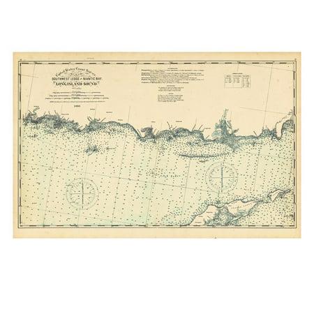 1893, United States Coast Survey - Southwest Ledge to Niantic - Long Island Sound, Connecticut, Uni Print Wall