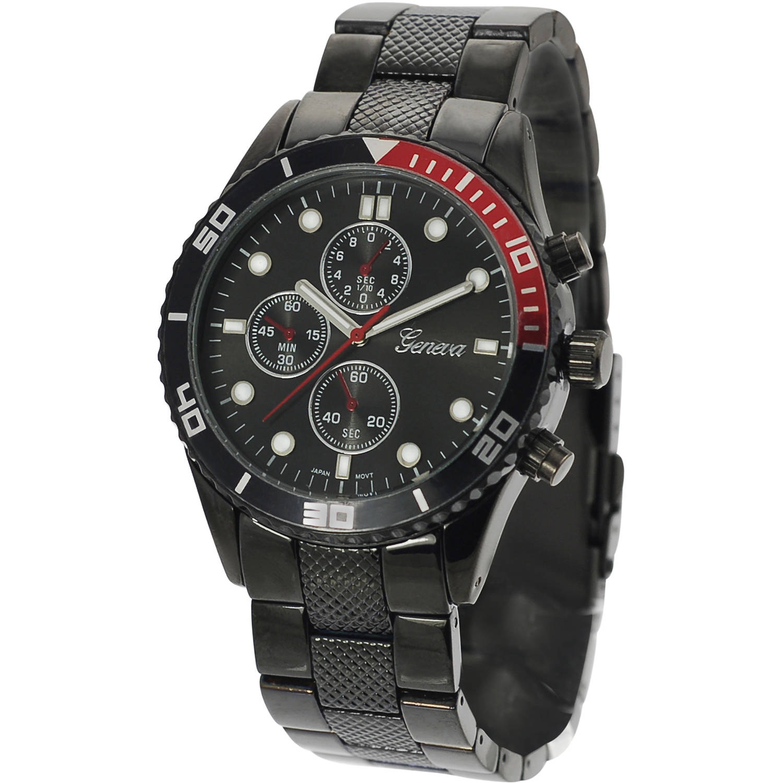 Image of Aktion Men's Chronograph Metal Link Fashion Watch, Black/Red