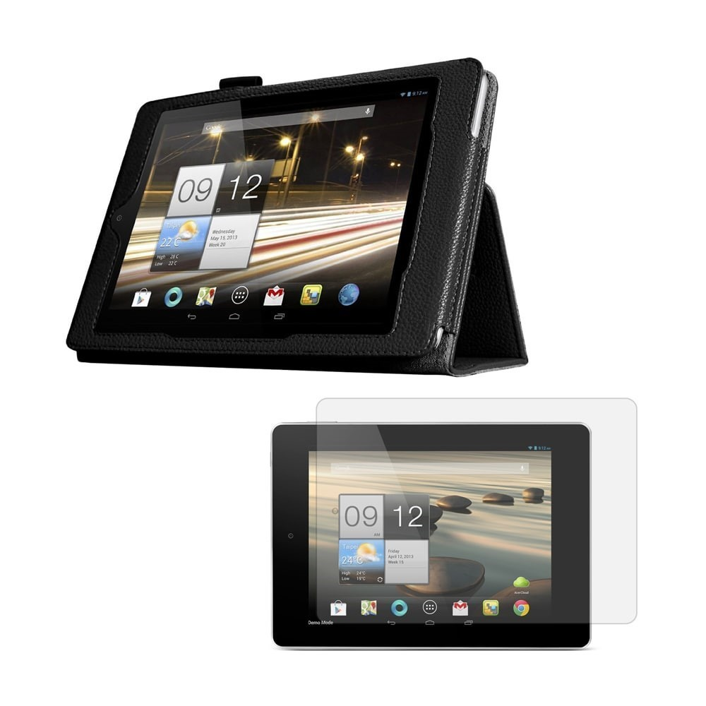 Black Double-Fold Folio Case with Screen Protector for Acer Iconia W4