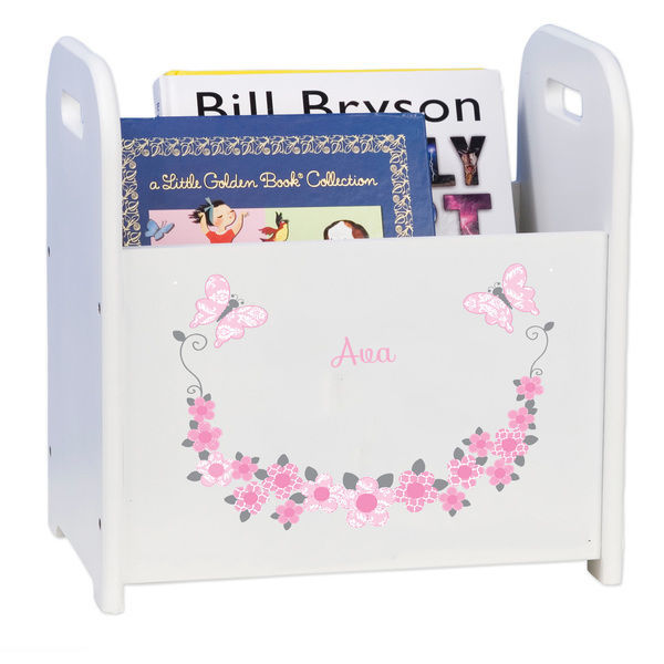 Personalized Pink and Gray Butterflies White Book Caddy and Rack