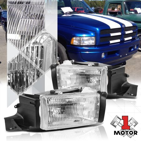 Chrome Housing Headlight Crystal Fresnel Lens For 94 02 Dodge Ram 1500 2500 3500 95 96 97 98 99 00 01