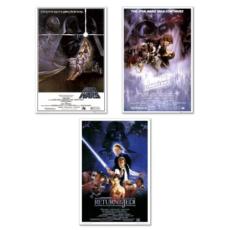 Star Wars 3 Posters (Star Wars Episode IV, V & VI - 3 Piece Movie Poster / Print Set (3 Regular Style Posters - Version 1) (Size: 24