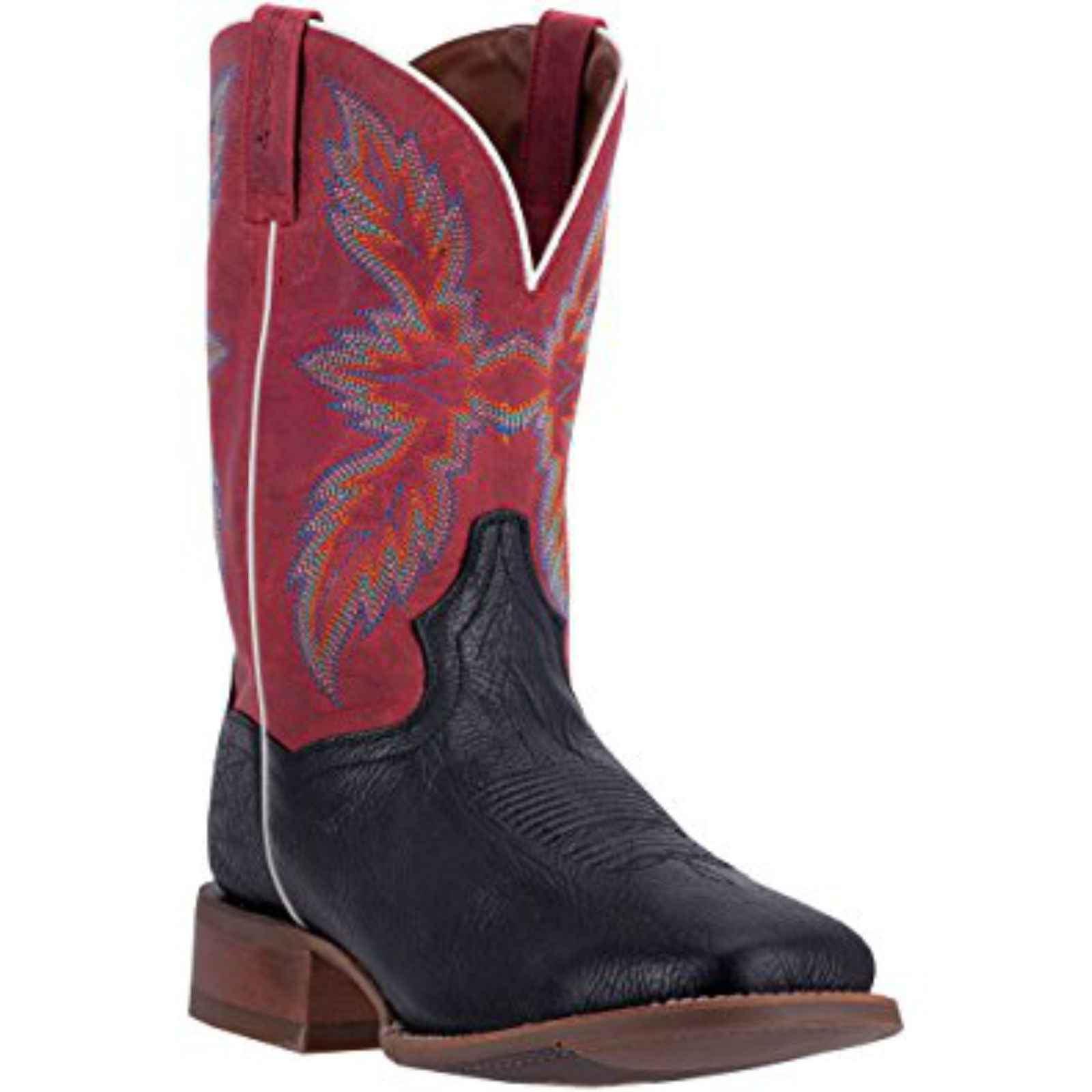 "Dan Post Men's 11"" Red Clark Black Leather Cowboy Boots,DP2424 by DAN POST"