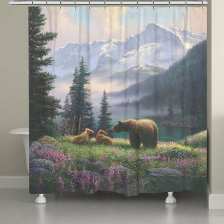 Millwood Pines Stalder Mountain Bear With Cubs Single Shower Curtain