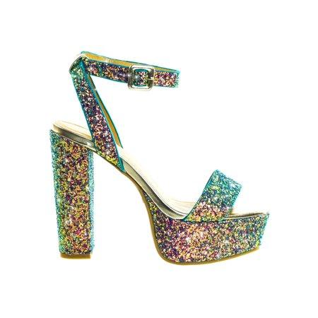 Admire09 by Bamboo, Glitter Block Heel Platform Open Toe Strappy Evening Party Dress (Glitter Platform Slide)