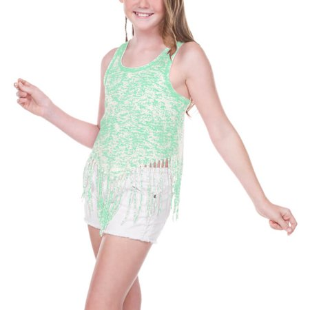 Kavio! Girls 7-16 Static Jersey Print Scoop Neck Raw Edge V Fringe Tank Ice Green XL](Hot Xl Girl)