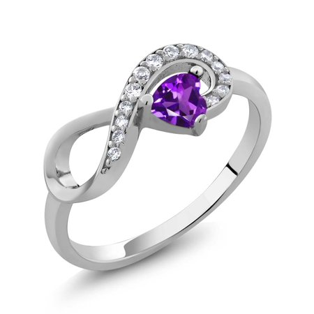 0.33 Ct Heart Shape Purple Amethyst 925 Sterling Silver Infinity Ring