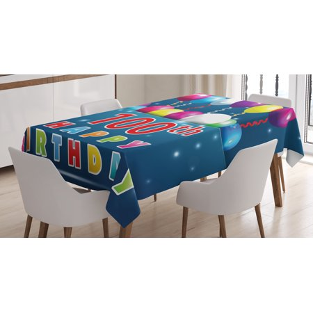 100th Birthday Decorations Tablecloth, Colorful Balloons on Star Like Dots 100 Years Birthday, Rectangular Table Cover for Dining Room Kitchen, 60 X 84 Inches, Blue and Dark Blue, by (Birthday Stars Table Cover)