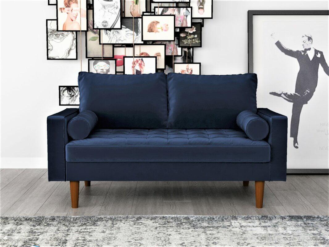 Picture of: Us Pride Furniture Mac Velvet Loveseat Navy Blue Walmart Com Walmart Com
