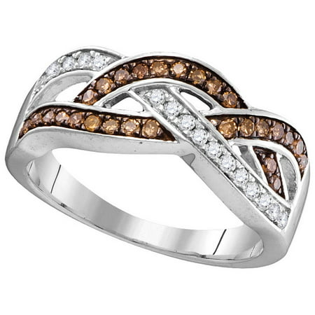 - Size - 7 - Solid 10k White Gold Round Chocolate Brown And White Diamond Prong Set Curved CrossOver Wedding Band OR Fashion Ring (1/3 cttw)