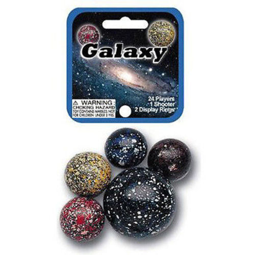 Mega Marble- 25 Marbles -24 Collectible Marbles,1 Shooter, Net bag- Galaxy